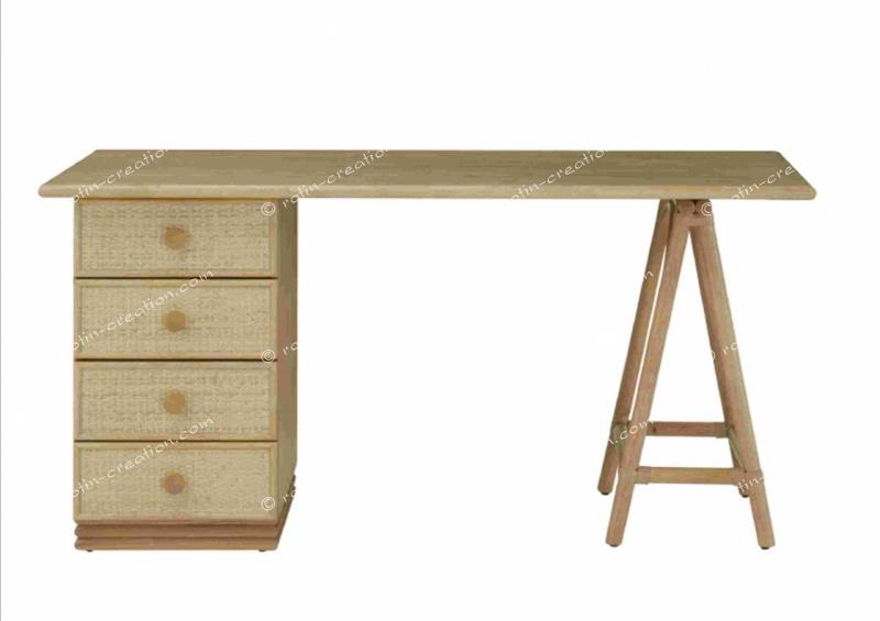 Bureau gigny pm 4 tiroirs bureau modulable avec tréteaux et bloc